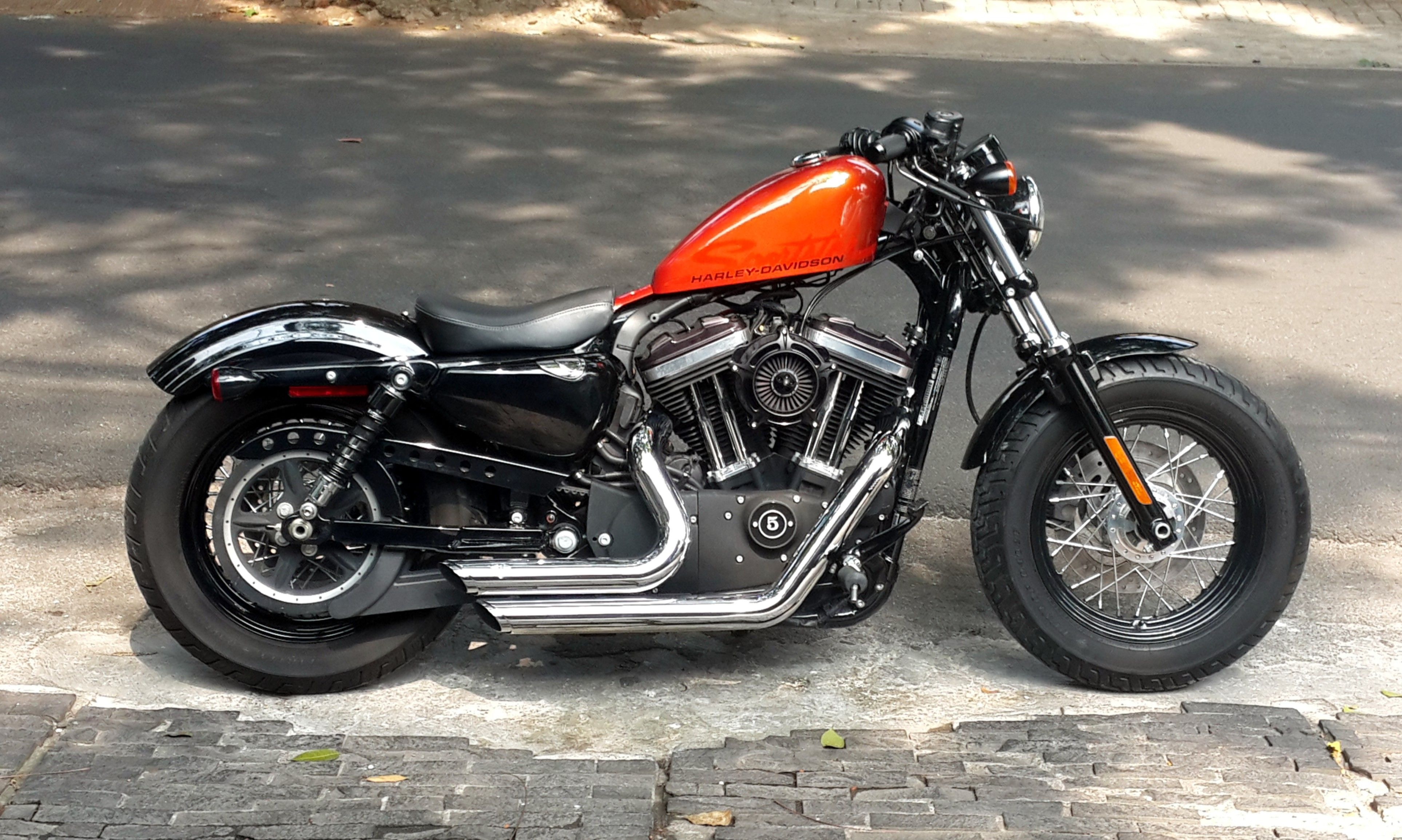 My 2011 Hd Sportster Forty Eight Orange Candy Tank With 2 Uplift Kit V H Short Stock Chrome Exhaust Screaming Eagle Sp Hd Sportster Candy Tank Sportster