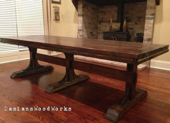 Handcrafted Farmhouse Dining Table Solid Wood 8 ft Triple Pedestal