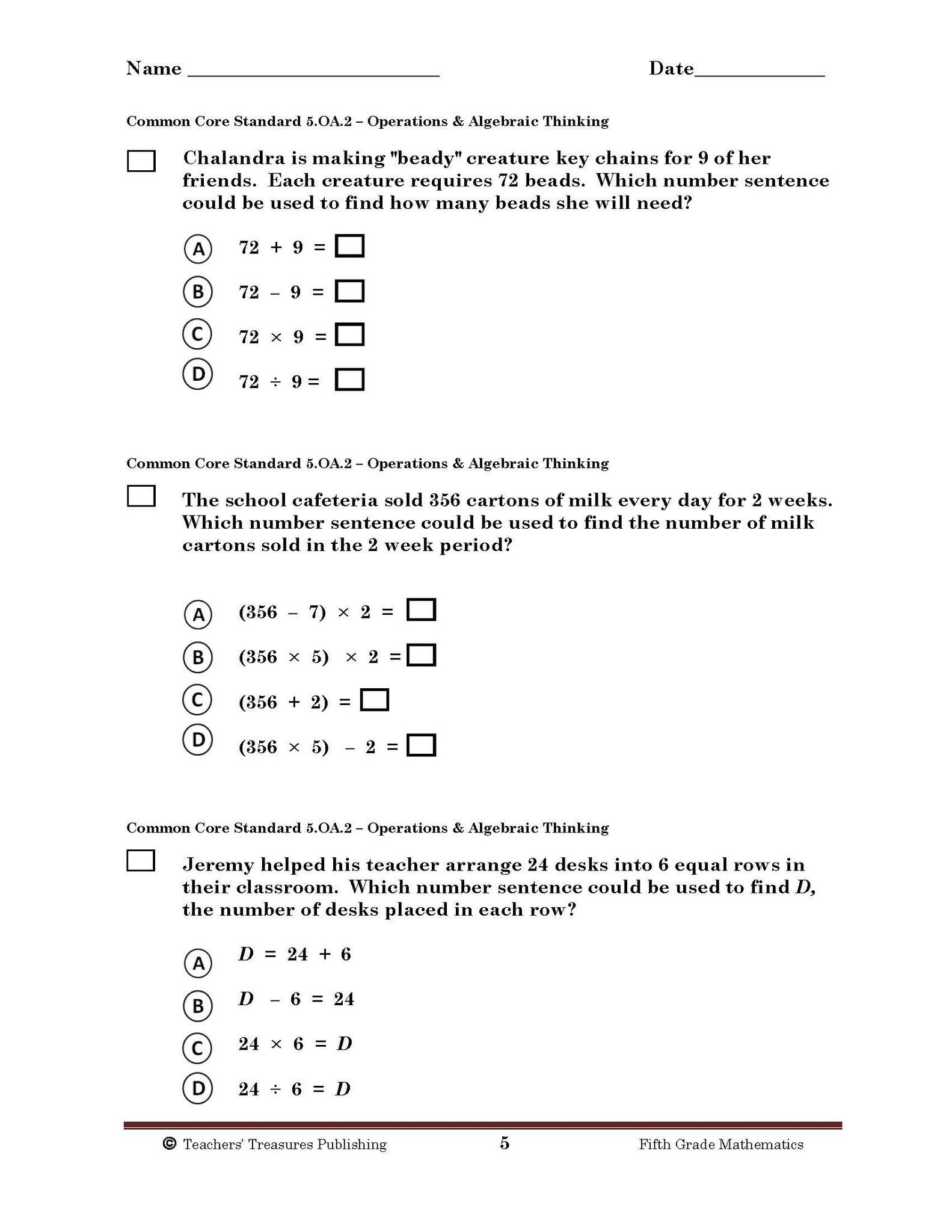 5th Grade Tennessee Common Core Math