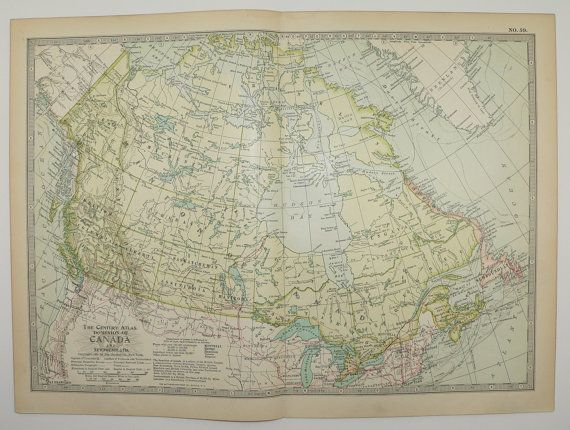 1902 Antique Map Canada Dominion of Canada Map Newfoundland