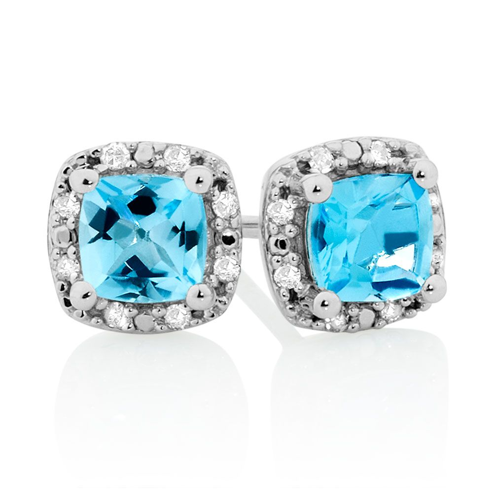 Stud Earrings With Blue Topaz Diamonds In 10ct White Gold