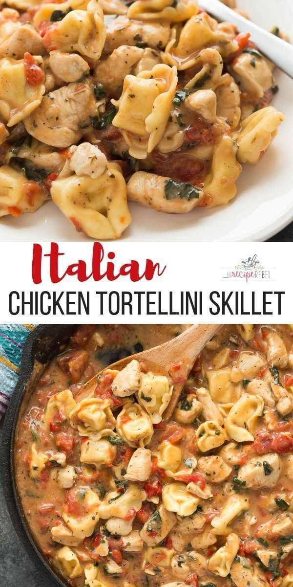 This Italian Chicken Tortellini Skillet is an en easy meal made completely in one pot  loaded with roasted red peppers spinach tomatoes herbs and cheese Spinach is a dark...