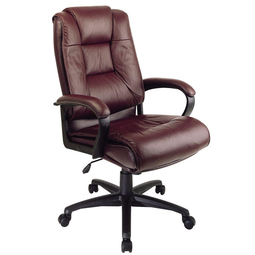 Fine Burgundy Leather High Back Executive Office Chair Products Machost Co Dining Chair Design Ideas Machostcouk