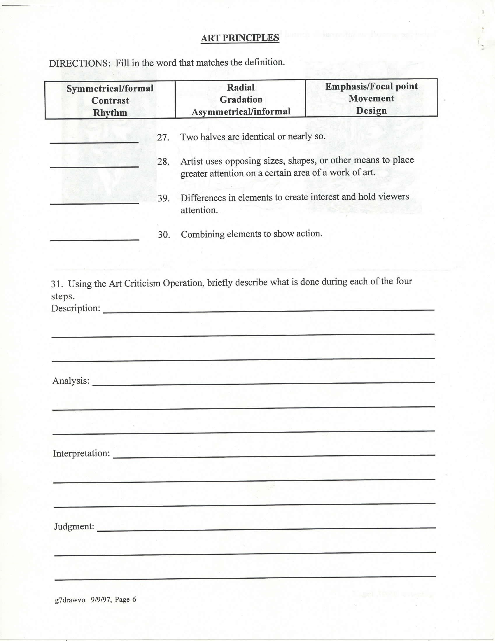 worksheet Elements And Principles Of Art Worksheet elementsprinciples art handouts pinterest elements elementsprinciples