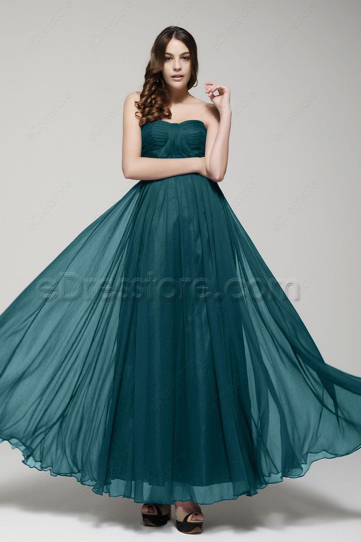 Teal green flowy prom dresses long strapless chiffon prom dresses elegant formal dresses for prom