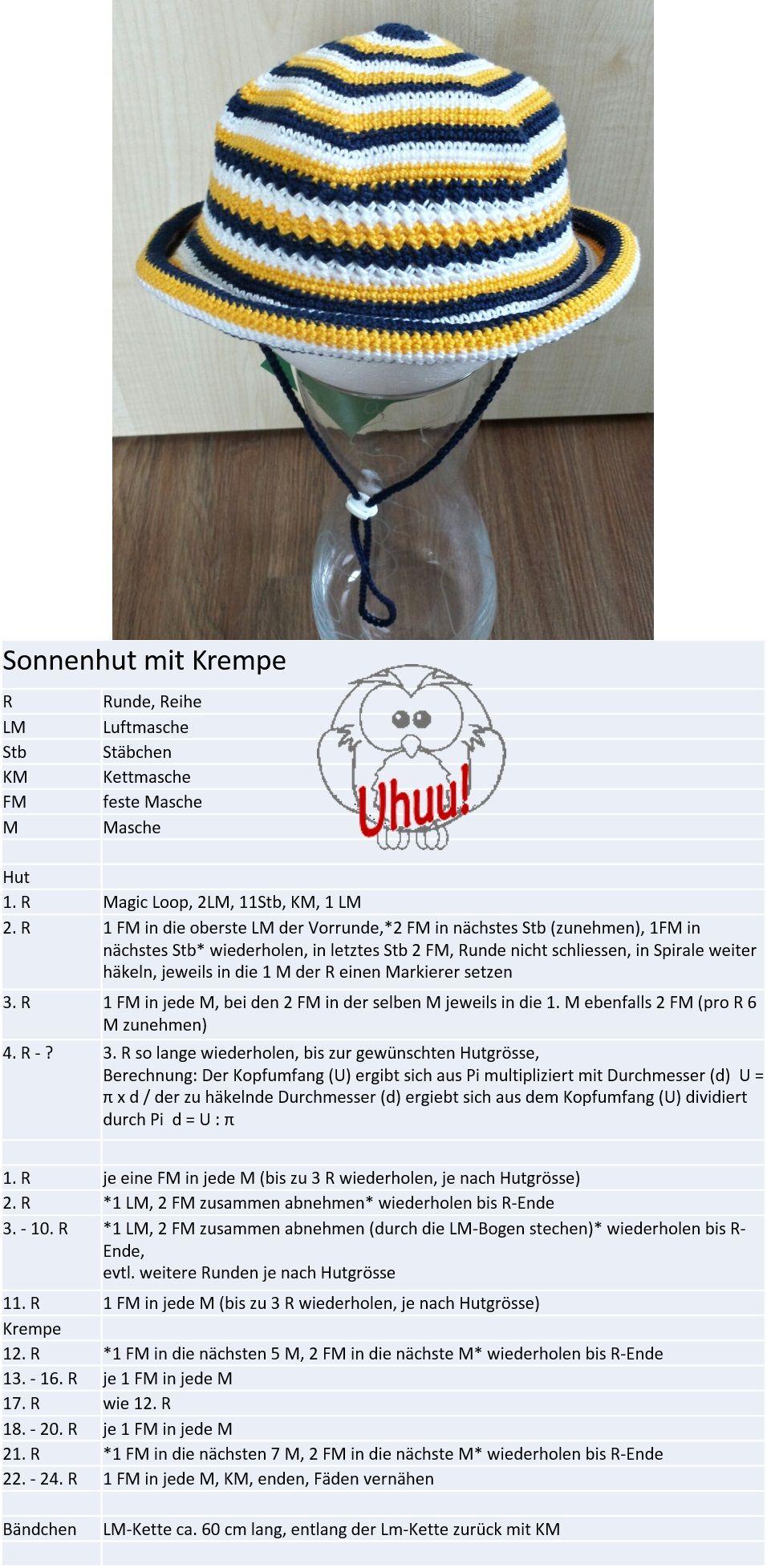 Sonnenhut, häkeln, kostenlose Anleitung von Uhuu! | Anleitungen ...