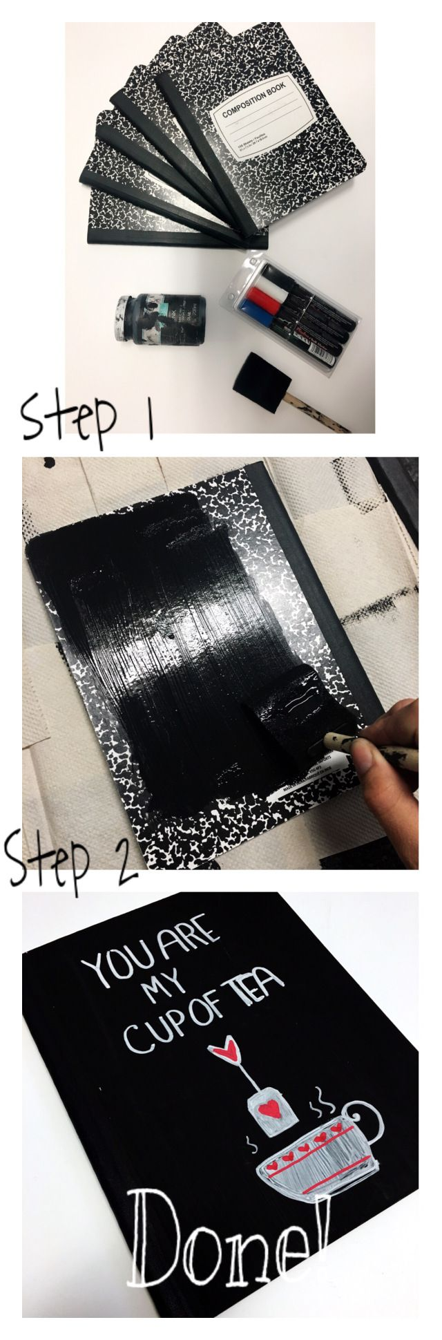 Diy notebook covers so your books and you will stand out at school - Cheap Ways To Decorate Your Notebooks For School Chalkboard Paint
