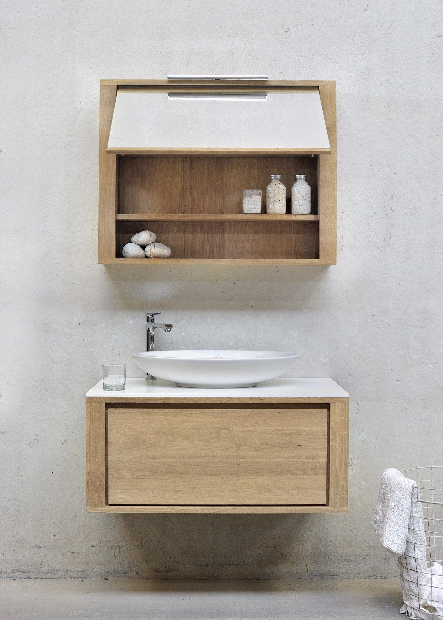 Single Wall Mounted Solid Wood Vanity Unit Oak Shadow Collection