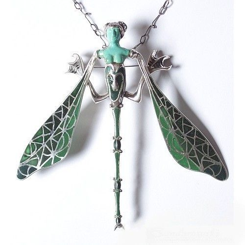 Dragonfly Woman | Silver ENAMEL Pin Pendant With GEMSTONES - product image