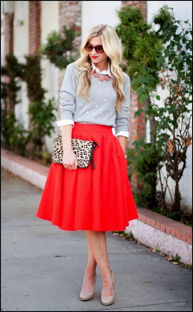 2281f25a jaka bluzka do rozkloszowanej czerwonej spódnicy - Szukaj w Google ...