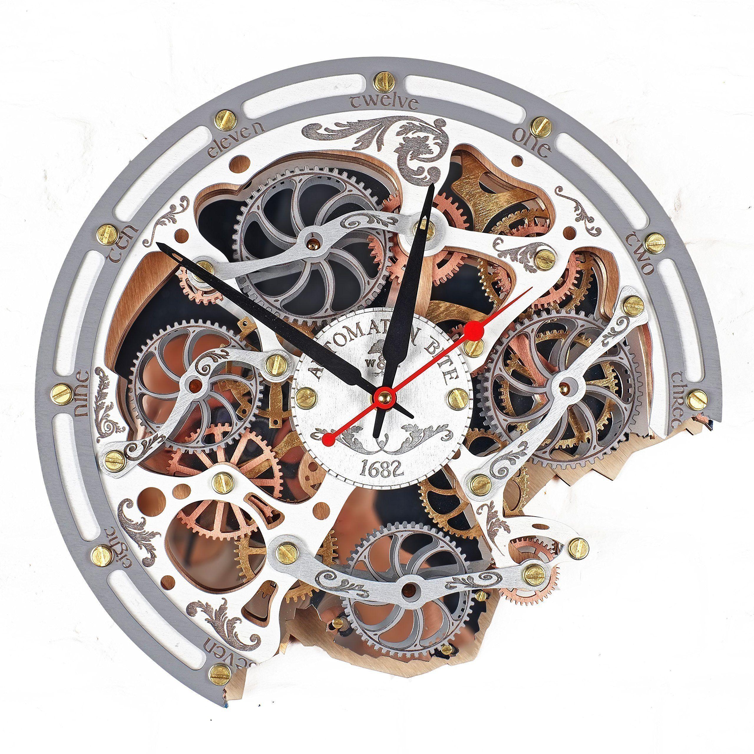 Automaton Moving Gear Wall Clock 1682 Gear Wall Clock Grey Wall Clocks White Wall Clocks