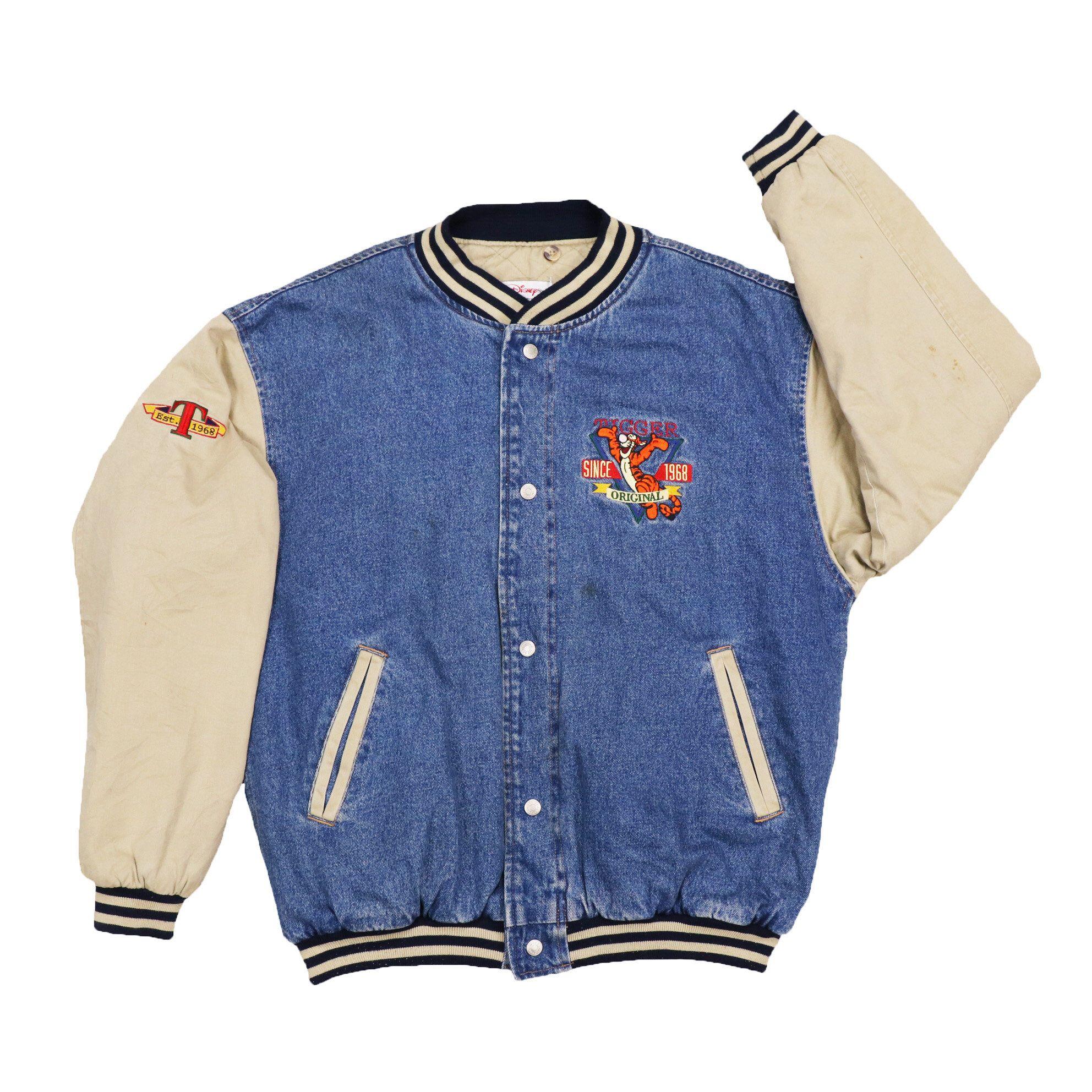 Vintage Disney Store Tigger Varsity Denim Jacket Etsy In 2020 Denim Jacket Jackets Disney Inspired Outfits