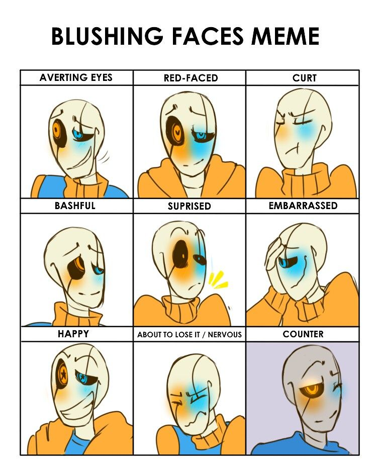 80c9e14d44dd77fecde42a2c391035ca blushing faces meme (us) (bunnymuse on devianart) gaster