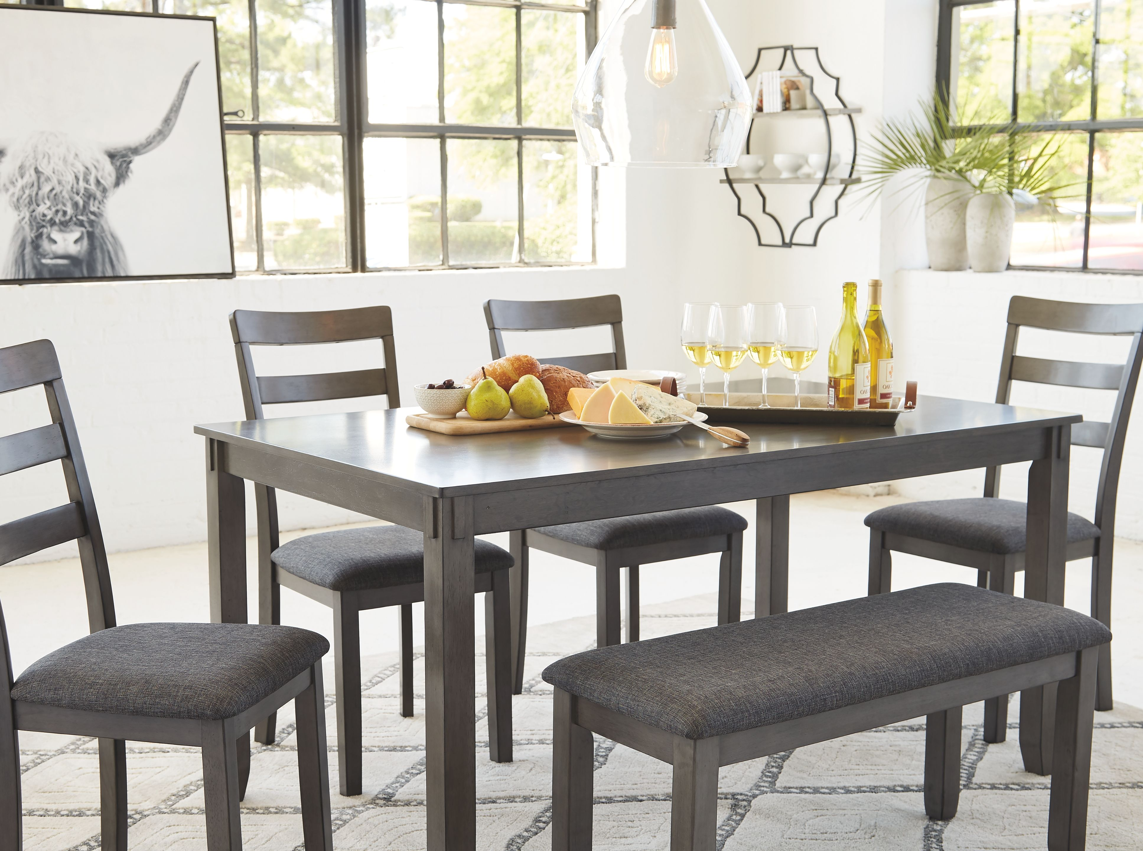 Bridson Dining Table And Chairs With Bench Set Of 6 Ashley Furniture Homestore Dining Room Table Dining Table Chairs Dining Room Small