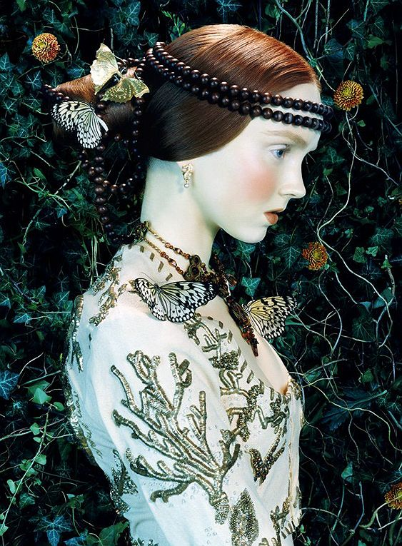 """Lily Cole in """"Like a Painting"""" by Miles Aldridge for Vogue Italia February 2005"""