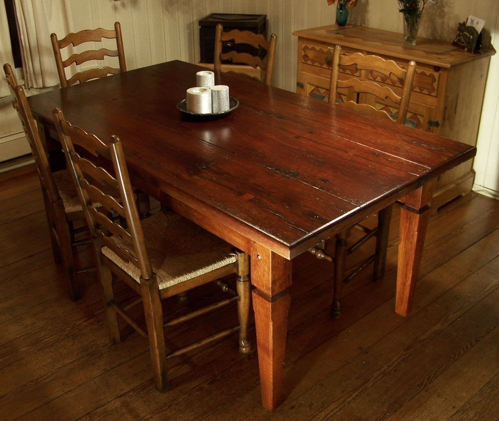 Delightful Heirloom Workshops Reclaimed Wood Dining Table, Tapered Legs, Planked Top