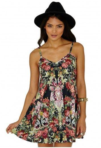 AnnMarie Flower Print Strappy Swing Dress - Dresses - Swing Dresses - Missguided
