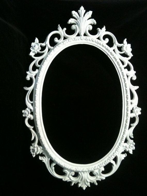 Gloss White Oval Picture Frame Mirror Shabby Chic Baroque Gothic