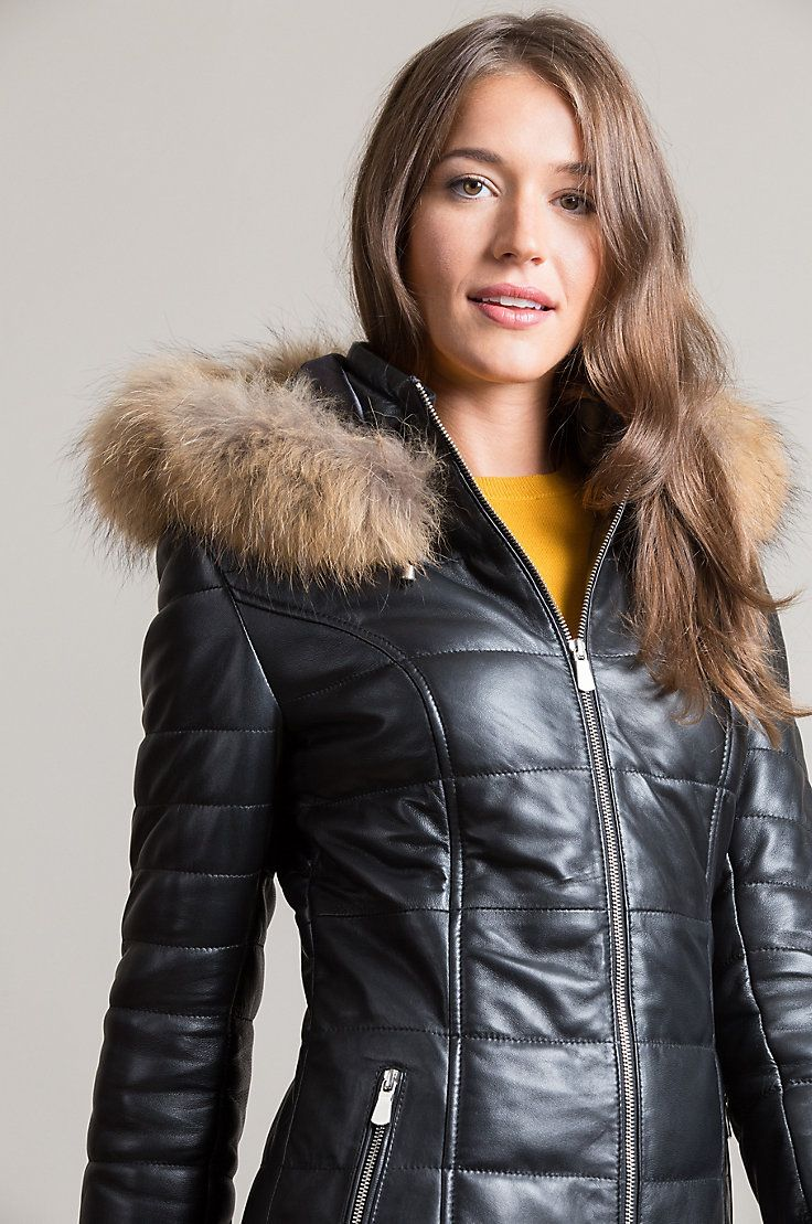 Maria Lambskin Leather Coat with Fur Trim and Detachable