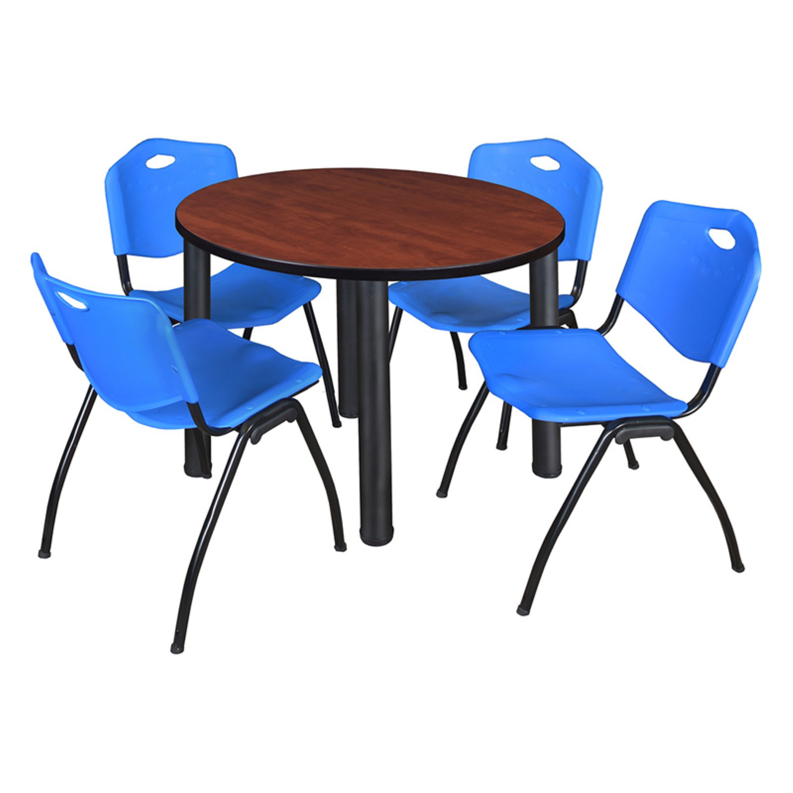 Regency Kee Round Cherry Breakroom Table With 4 Stackable M Chairs Chrome Blue