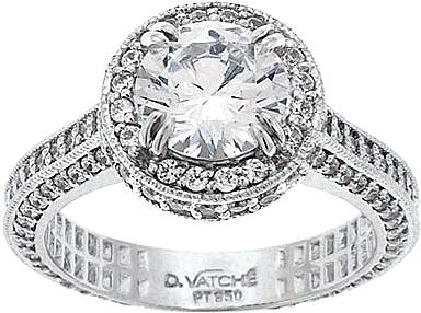 Vatche Cotillion Collection .88ct Pave Setting  : This incredible engagement ring setting by Vatche features pave-set round diamonds surrounding the center diamond as well as all three sides of the band and basket.  A small sizing bar is left polished on the bottom of the band for future size adjustments.7300.00