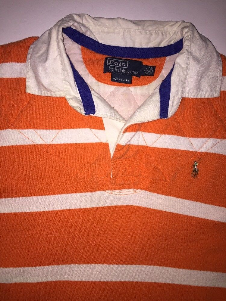 Polo Ralph Lauren Men S Custom Fit Rugby Shirt Orange White Striped Large L Clothing Shoes Accessories Casual Shirts Ebay