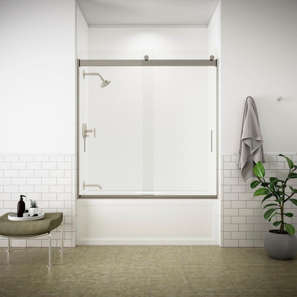KOHLER Levity 57 in. x 59.75 in. Semi-Frameless Sliding Tub Door in ...