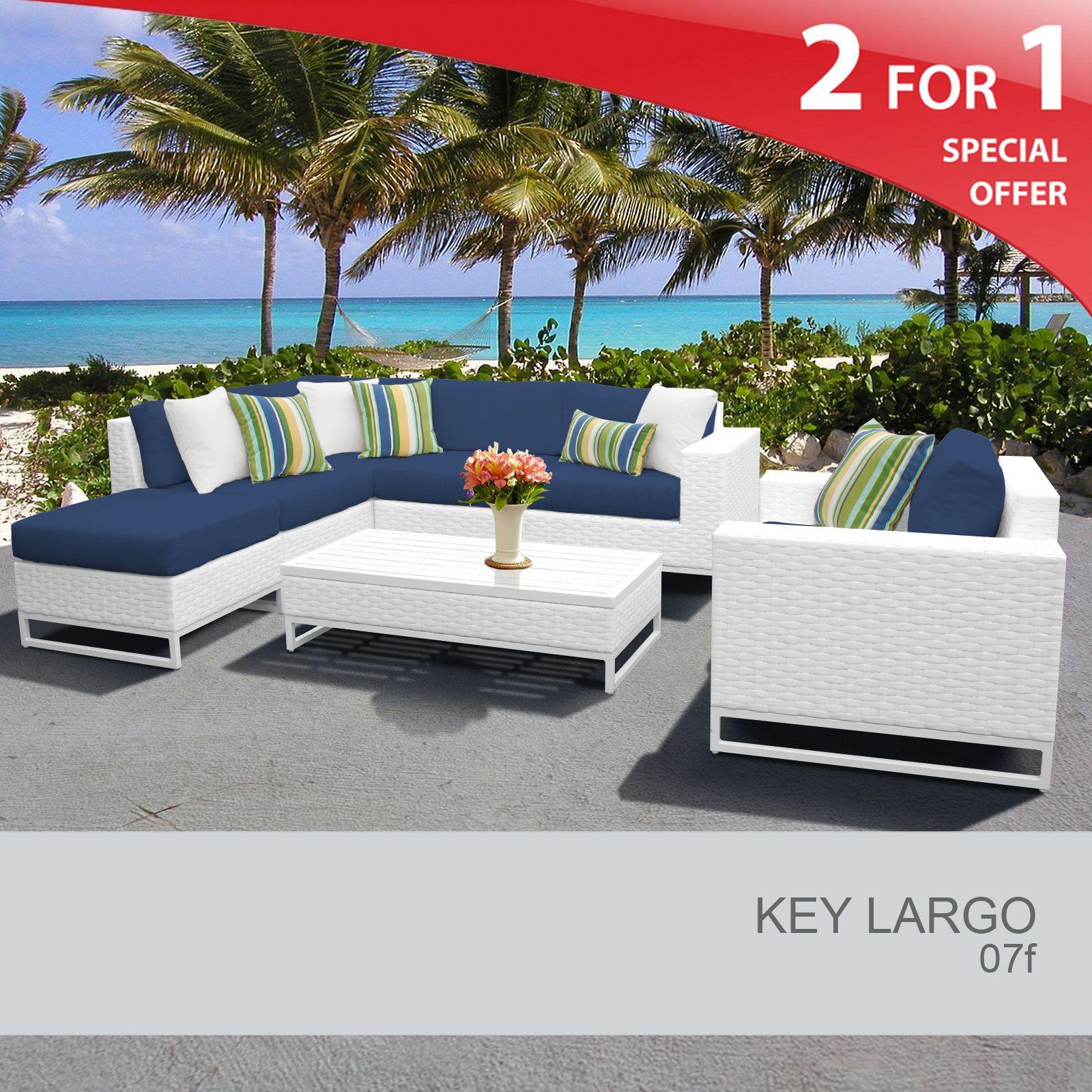Key Largo 7 Piece Outdoor Wicker Patio Furniture Set 07f Design