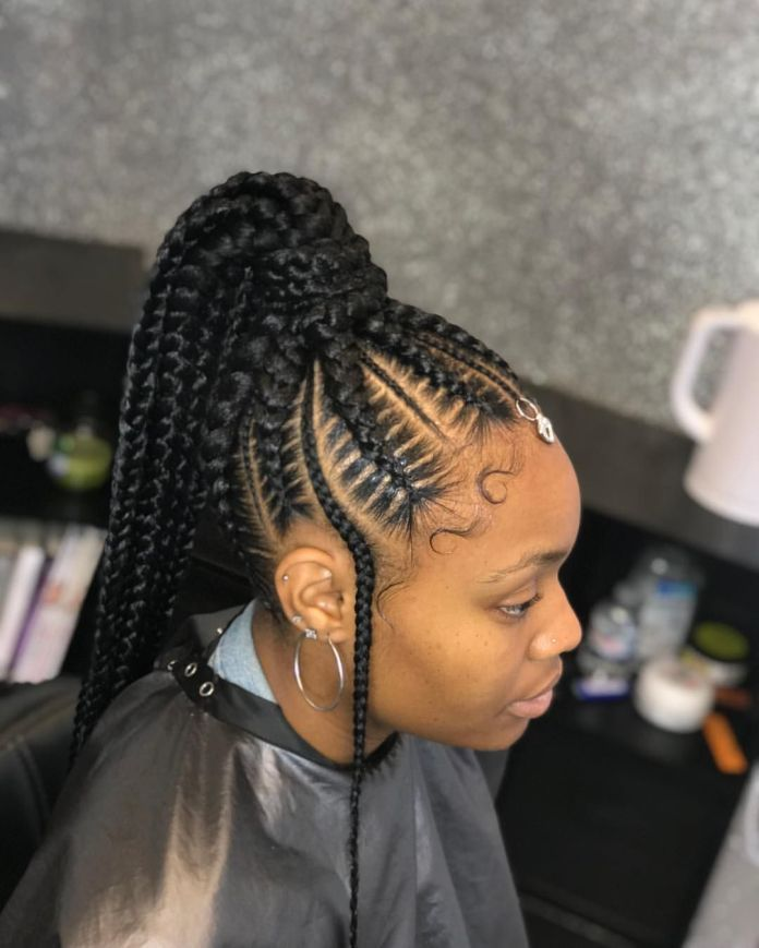 Most Coolest And Fabulous Feed In Braids Feed In Braids Hairstyles Have Steadily Grown In Popula Feed In Braids Hairstyles Hair Styles Feed In Braids Ponytail