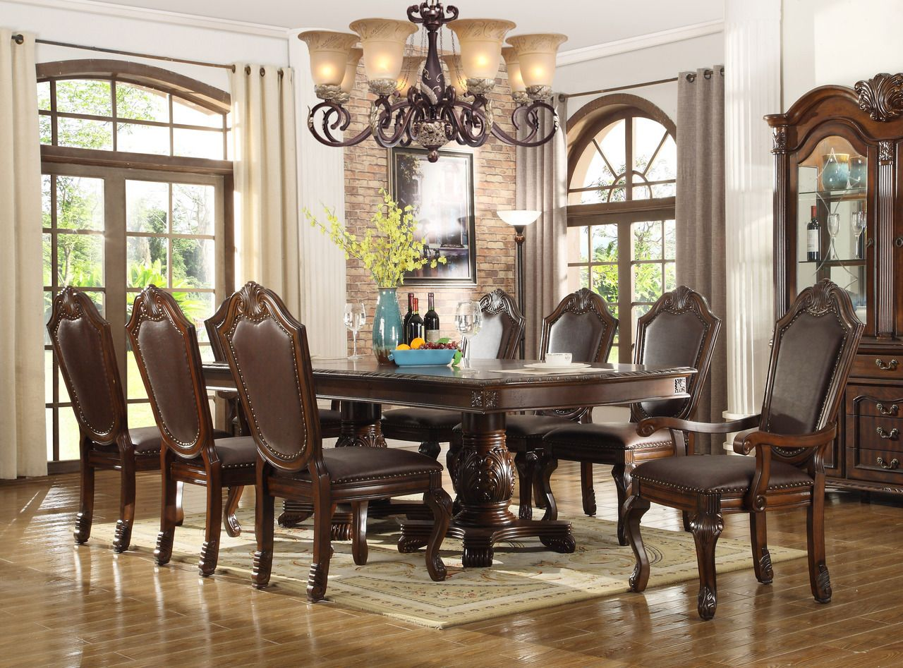 Alexandria Bay 96 Brown Cherry Extendable 9 Pc Dining Table Set Formal Dining Room Furniture Sets Traditional Formal Dining Room Dining Room Table Set