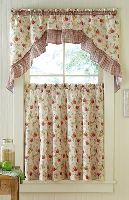 Classic Country Apple Pear Kitchen Curtain Set Kitchen Curtain