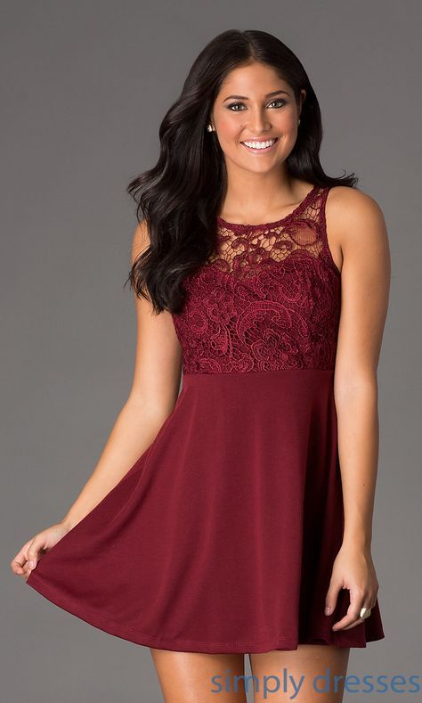 Empire Fit Flare Lace Sleeveless Short Party Dress Ashlyns
