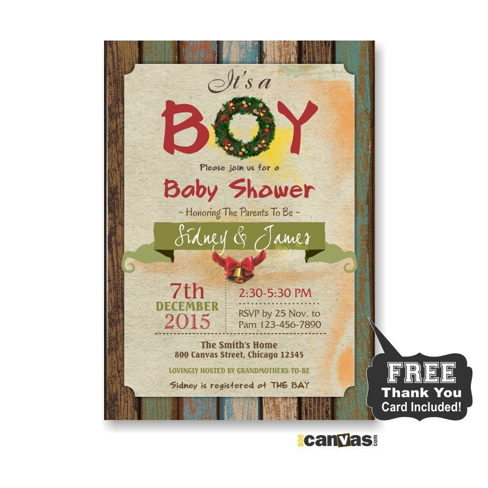 Christmas Baby Shower Invitation, It's a Boy Baby Shower Invite, Rustic Wood, Holiday Baby Shower, Holiday Christmas Wreath, Shabby Chic111 by 800Canvas on Etsy
