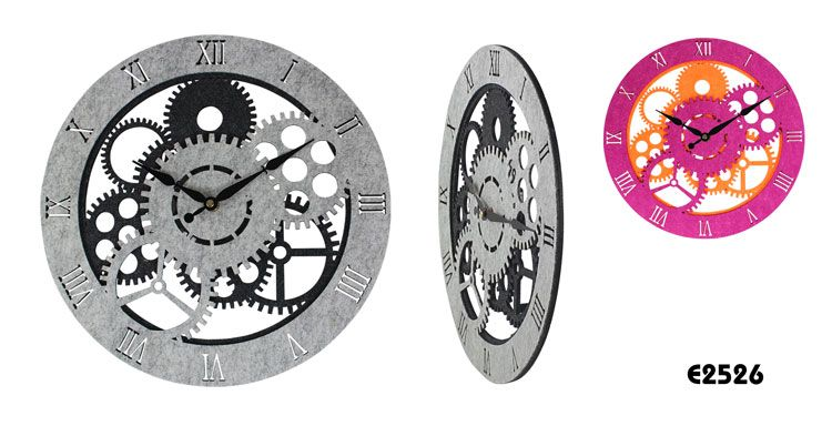 Decorative Felt Wall Clock w/Sweeping  Description  * Wall clock with sweep movement (no tick sound keep quiet)  * Fashion trendy clock dial good designed for Home decor  * With laser engraved figure  * With stuffing & with soft touching feel  * Size: 35*35*4CM  * Material:   PET felt   * 100% recycled felt material, Eco-friendly  * Battery: AA*1(not included)   * OEM designs are welcome www.ideagroupigm.com