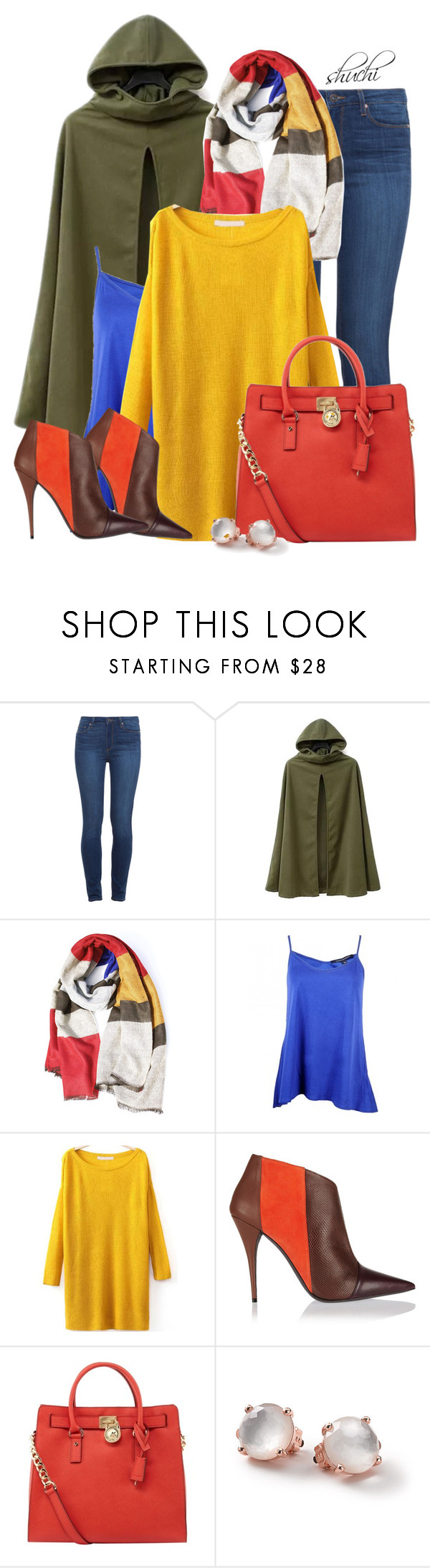 """""""Colorfully Cloaked"""" by shuchiu ❤ liked on Polyvore featuring Paige Denim, Hooded Trench, French Connection, Narciso Rodriguez, MICHAEL Michael Kors and Ippolita"""