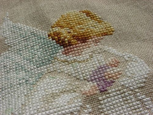 Cross Stitch Angel Holding a Baby Embroidered Finely Done Unframed  ~ seller; florasgarden on ebay