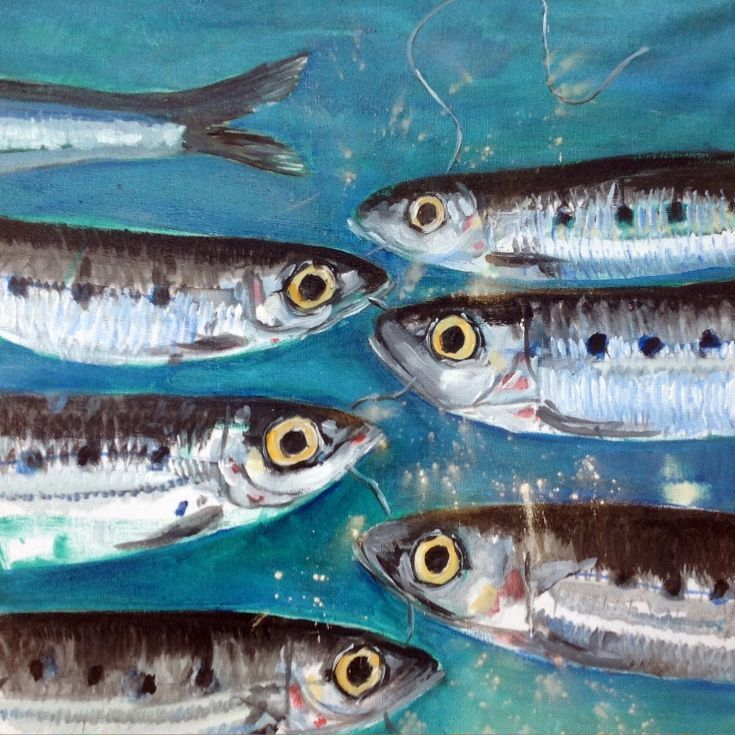 ARTFINDER: Sardine Faceoff by Chris Walker - 339 Sardine Faceoff, Oct 2015, Oil on Canvas, 40x40