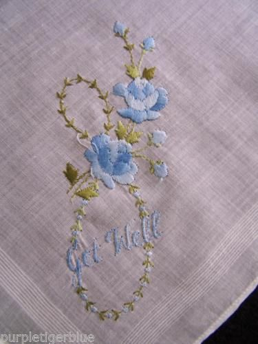 """Vintage Embroidered Floral Handkerchief Hanky """"GET WELL"""" Blue Green ROSES Cotton in Clothing, Shoes & Accessories, Vintage, Vintage Accessories, Handkerchiefs, Embroidered   eBay"""