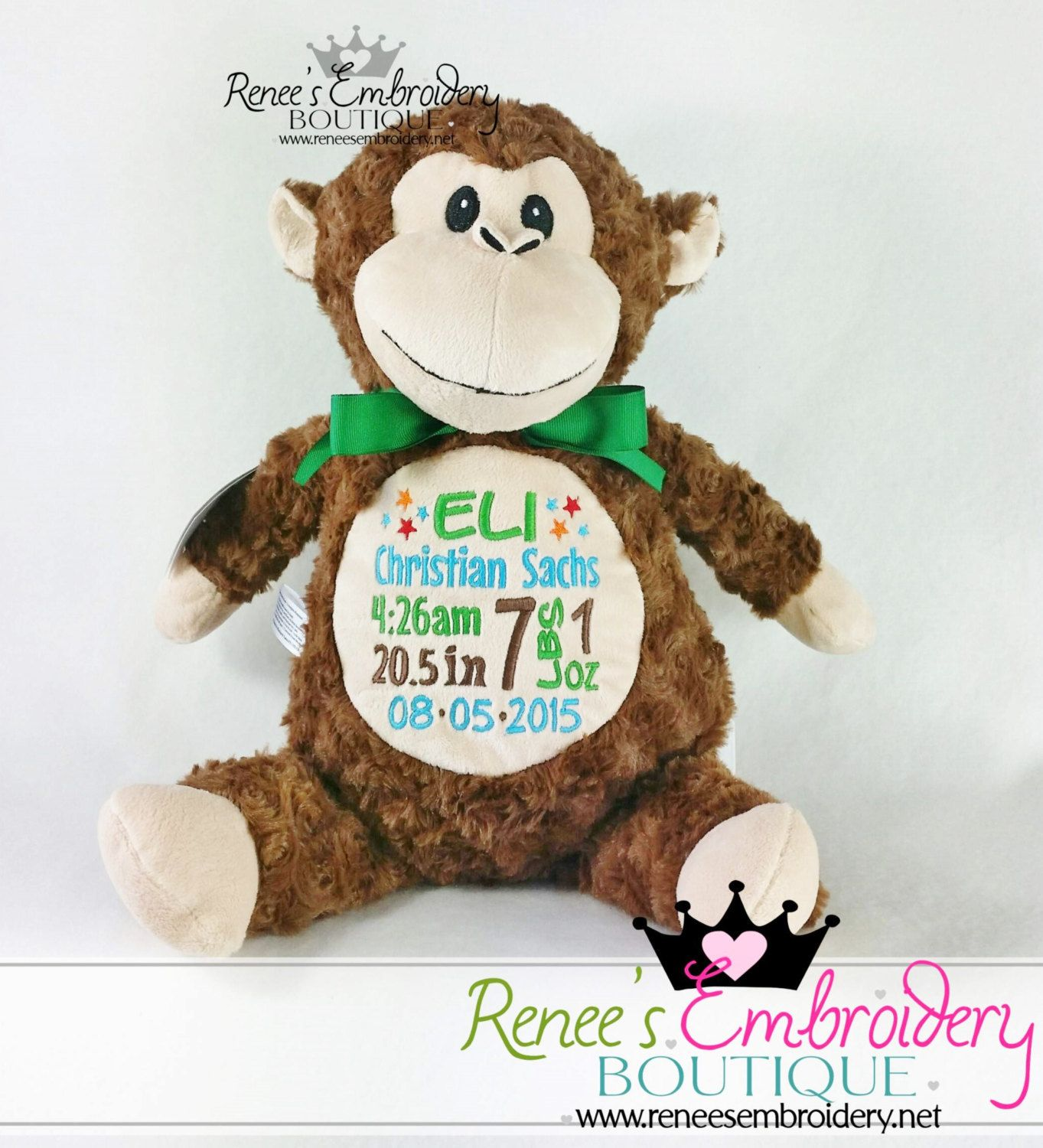 bf6075fa75 Personalized Baby Gift Baby Cubbies Stuffed Animal Birth Announcement Toy  and Keepsake by ReneesEmbroidery on Etsy
