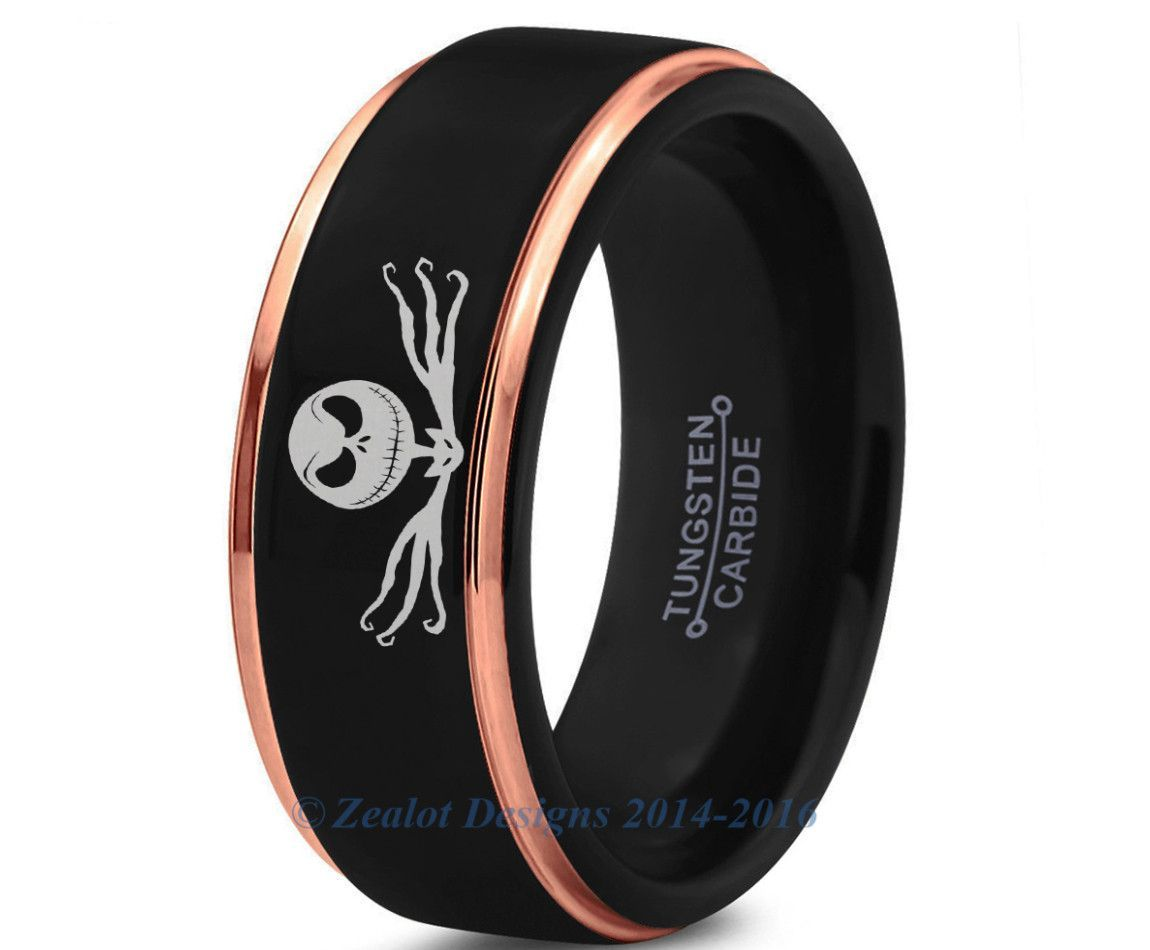 Nightmare Before Christmas Jack Skellington Black Rose Gold Bevel ...