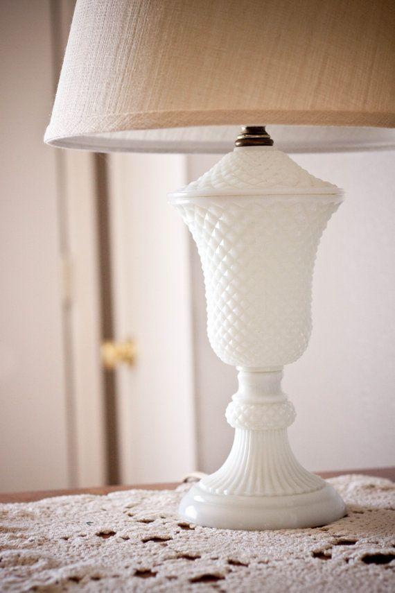 Vintage Diamond Hobnail Milk Glass Lamp By Attichaus On Etsy