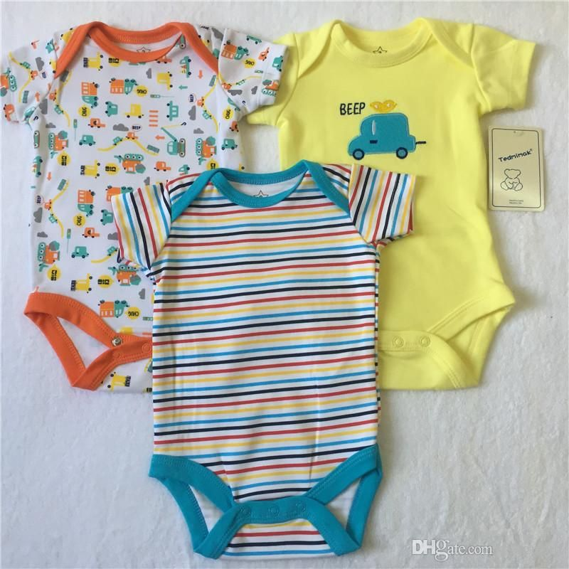 f6b0dbaf784e Cute Cars Letters Stripes Colorful Boys And Girls Rompers Fro 3 ...