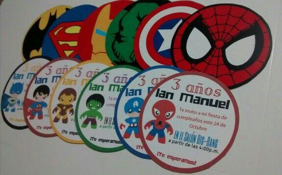 Invitaciones Doble Cara Superheroes Invitaciones Para