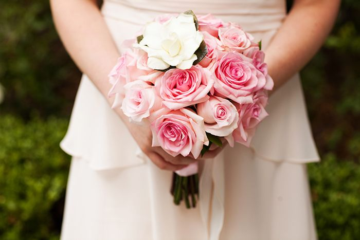 Pink roses with gardenia Disneyland flower girl bouquet | | Future ...