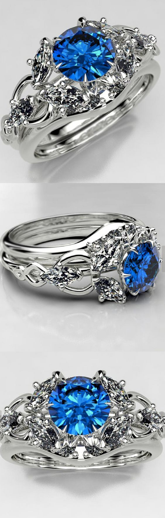 Elvish Engagement Ring Set with Lab Sapphire Elven