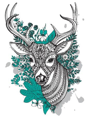 Hand drawn vector horned deer with high details ornament, flowers and herbs on white background. Black, white and mint colors. Stock Photo - 46906242