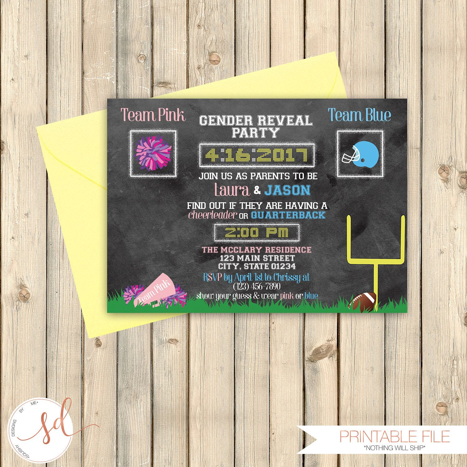 Football Baby Gender Reveal Party Invitation Sports Theme Reveal