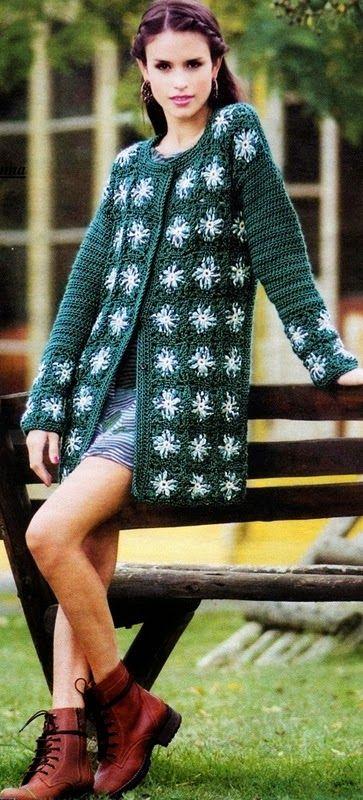 Casacao Em Square De Croche Com Grafico Cardigan De Croche