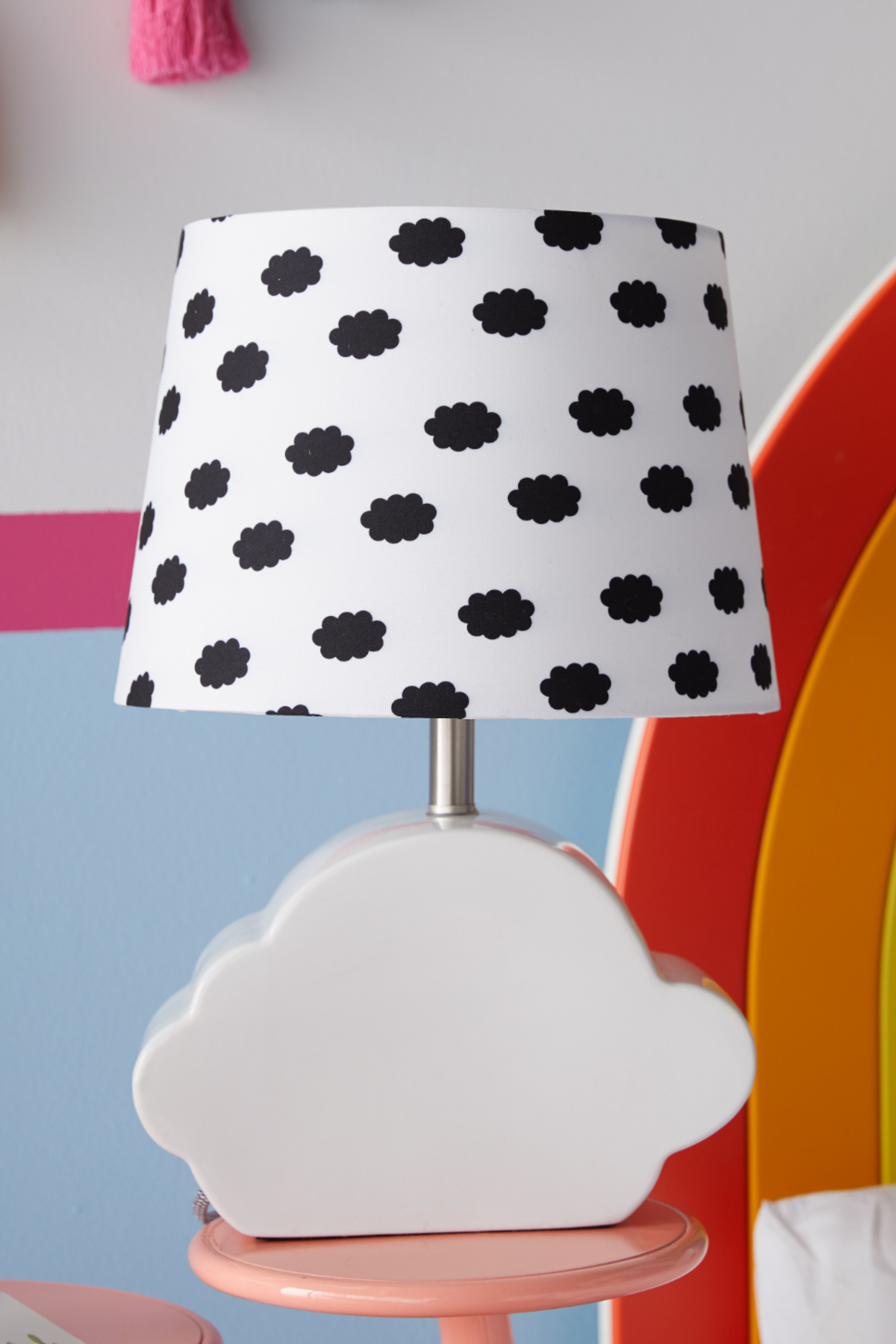 Cloud Patterned Shade With Ceramic Cloud Shaped Base By Drew Barrymore Flower Kids Cloud Shapes Clouds Pattern Cotton Shade