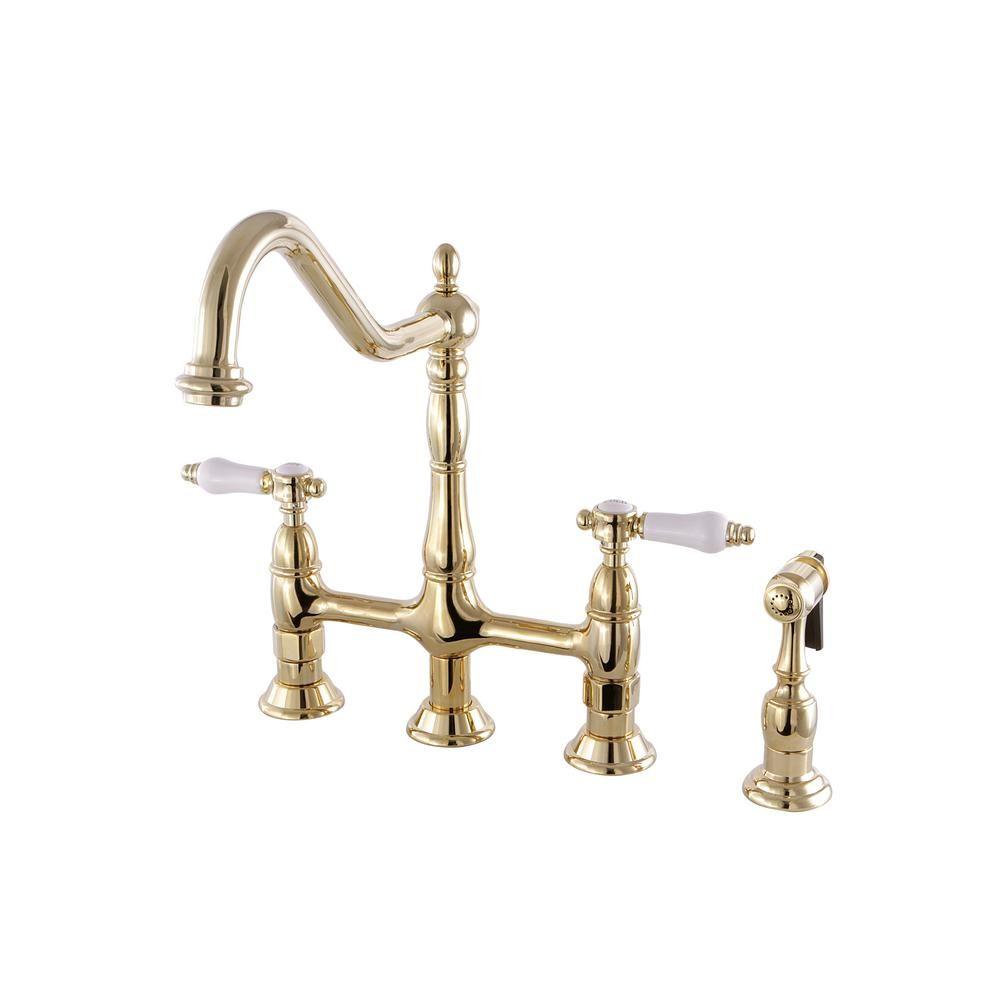 Kingston brass victorian porcelain handle bridge kitchen faucet
